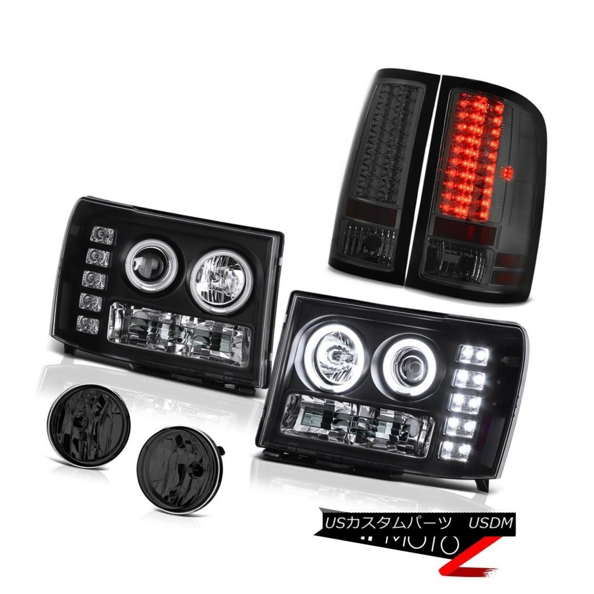ヘッドライト Fluorescence Halo Headlight Smoked LED Taillamps Driving Fog 07-13 Sierra GMT912 蛍光灯ヘッドライトスモークLEDタイルランプドライビングフォグ07-13 Sierra GMT912