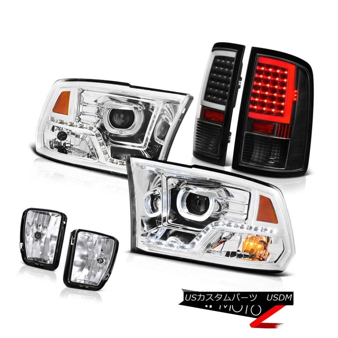 ヘッドライト 13-18 RAM 1500 Inky Black Tail Lights Euro Clear Head Lamps Driving Assembly SET 13-18 RAM 1500 Inky Blackテールライトユーロクリアヘッドランプ駆動アセンブリSET