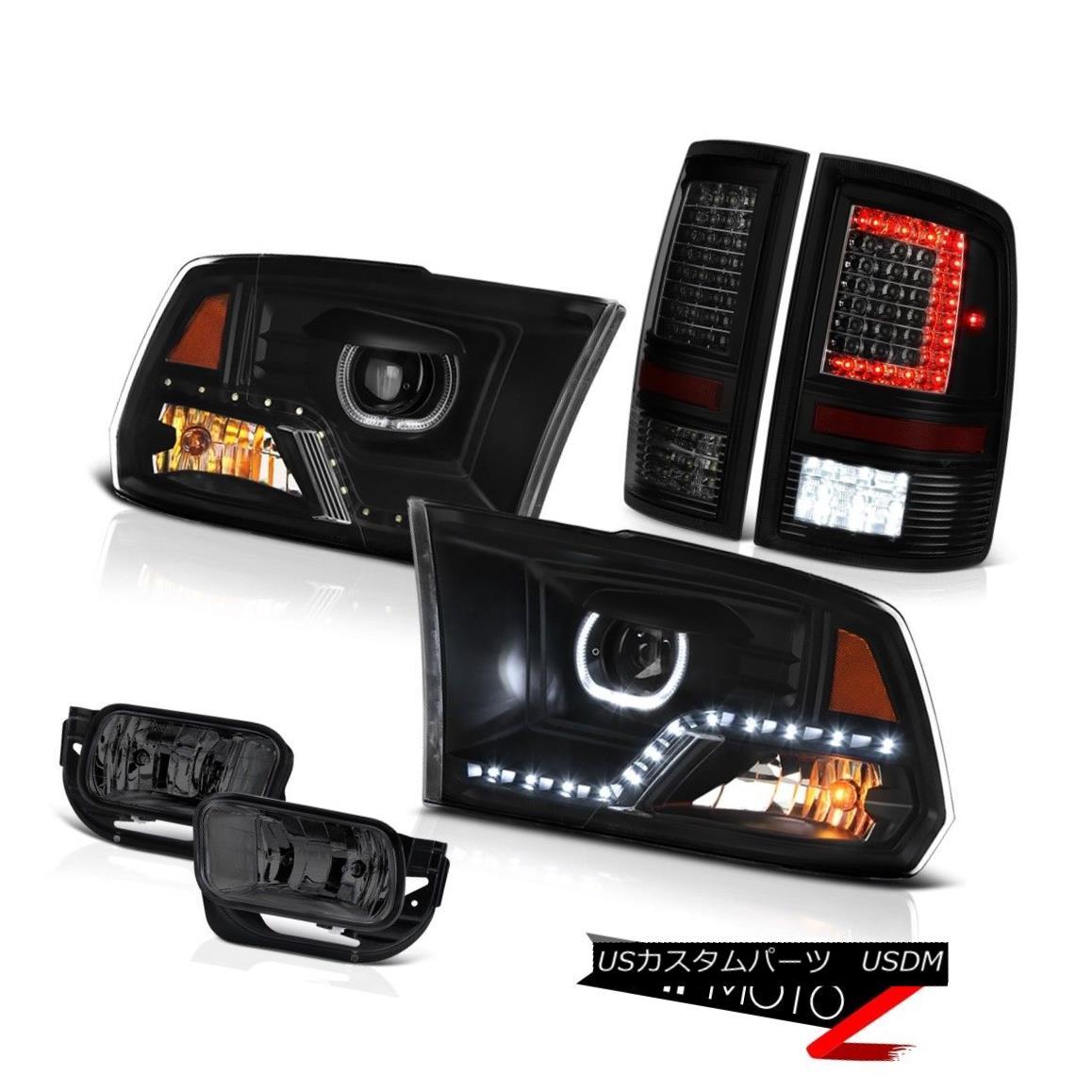 ヘッドライト 2010-2018 Dodge RAM 3500 Tail Light Raven Black Headlamp Driving Assembly PAIR 2010-2018ダッジRAM 3500テールライトレーブンブラックヘッドランプドライビングアセンブリペア