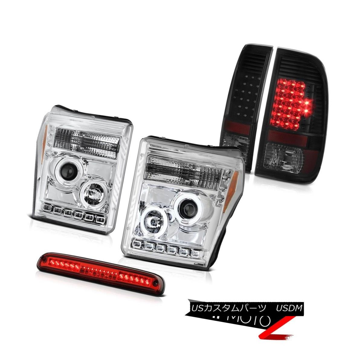 ヘッドライト 11-16 F350 Xlt Red Clear Roof Cab Light Tail Lights Euro Projector Headlights 11-16 F350 Xltレッドクリアキャビネットライトテールライトユーロプロジェクターヘッドライト