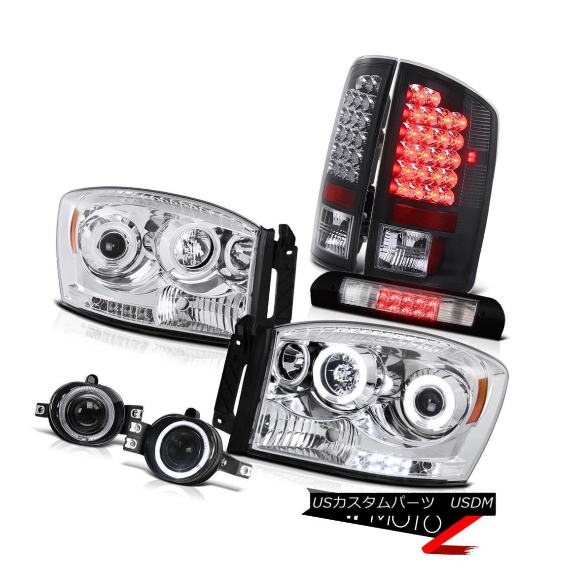 ヘッドライト 07 08 Dodge Ram Euro CCFL Ring Headlamps SMD Taillights Black Fog Roof 3rd LED 07 08ダッジラムユーロCCFLリングヘッドランプSMDテールライトブラックフォグルーフ第3 LED