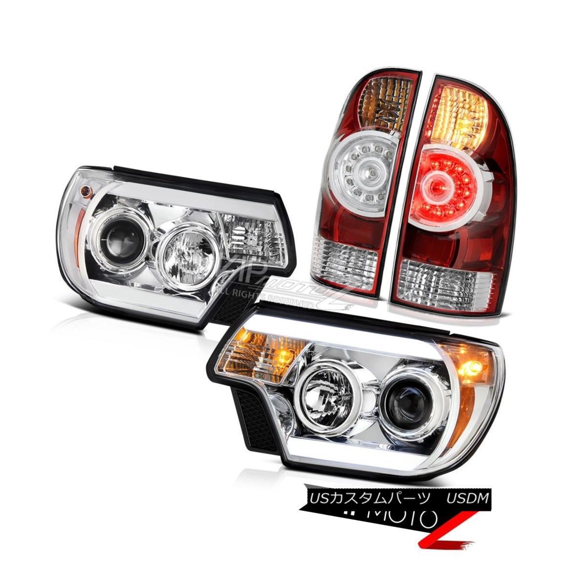 ヘッドライト 2012-2015 Toyota Tacoma 4WD Euro clear projector headlights rosso red tail lamps 2012-2015トヨタタコマ4WDユーロクリアプロジェクターヘッドライトロッソレッドテールランプ