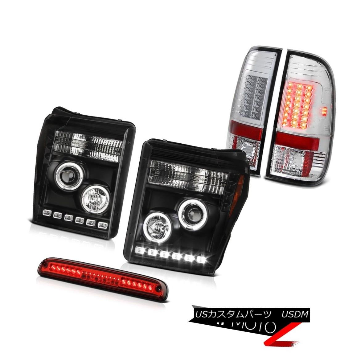 ヘッドライト 2011-2016 F250 Platinum 3RD Brake Lamp Parking Lights Infinity Black Headlights 2011-2016 F250プラチナ3RDブレーキランプパーキングライトインフィニティブラックヘッドライト
