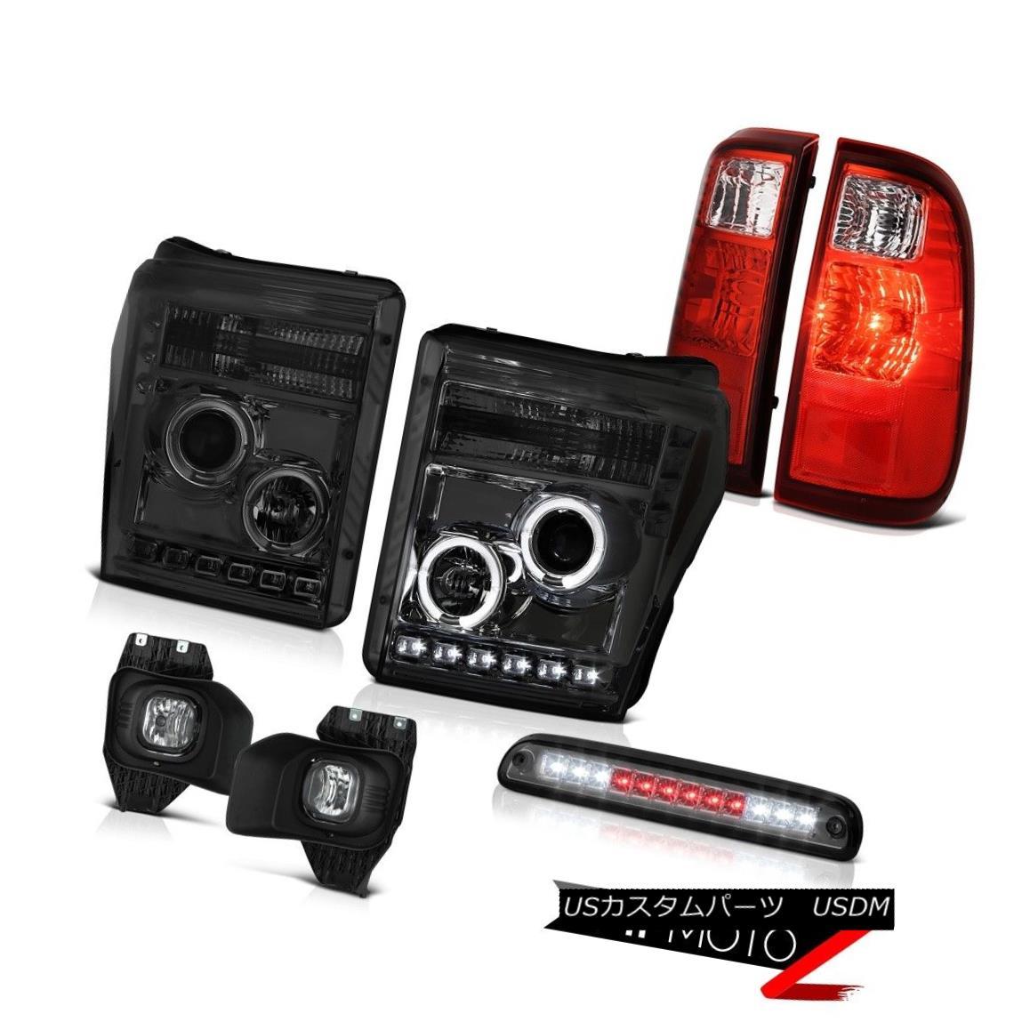 ヘッドライト 11-16 F350 6.7L 3RD Brake Light Fog Lights Wine Red Rear Headlamps Angel Eyes 11-16 F350 6.7L 3RDブレーキライトフォグライトワインレッドリアヘッドランプエンジェルアイズ