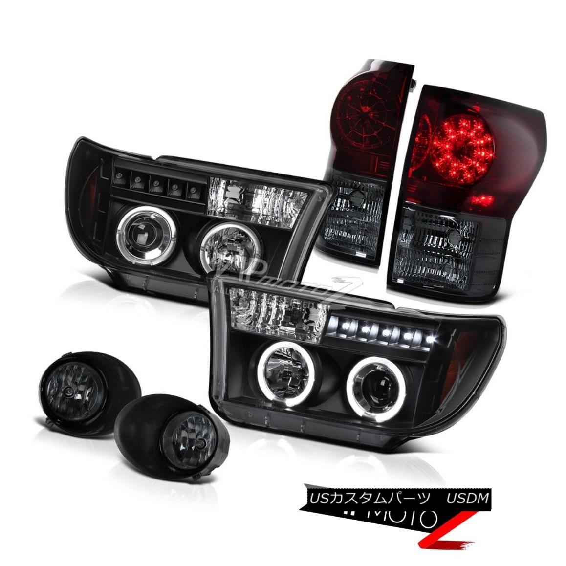 ヘッドライト Tundra 07-13 BLACK Halo Projector Headlight+Led Tail Light+Smoke Fog Lamp Tundra 07-13 BLACK Haloプロジェクターヘッドライト+ Ledテールライト+スモークフォグランプ