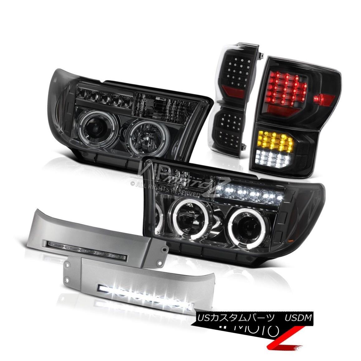 ヘッドライト 2007-2013 Toyota Tundra SR5 Black Taillamps Bumper DRL Headlamps DRL