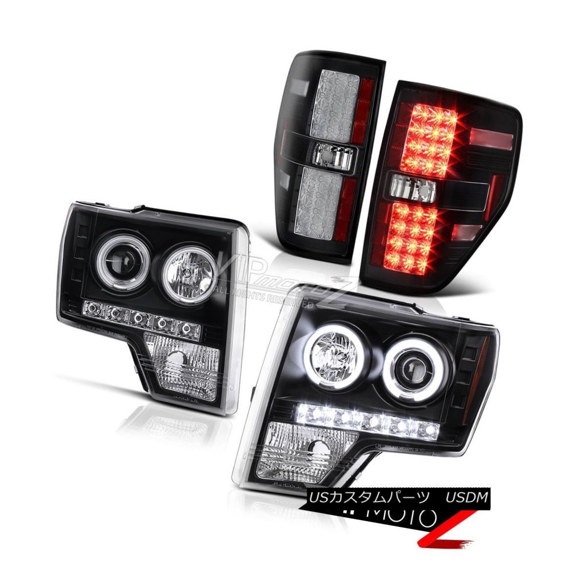ヘッドライト 2009-2014 Ford F150 Raptor Style Black CCFL Halo Headlights+LED Brake Tail Light 2009-2014フォードF150ラプタースタイルブラックCCFLハローヘッドライト+ LEDブレーキテールライト