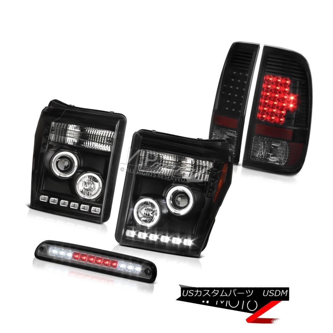 ヘッドライト 2011-2016 F250 Xl Dark Smoke Roof Brake Light Tail Lights Headlights Angel Eyes 2011-2016 F250 Xlダークスモークルーフブレーキライトテールライトヘッドライトエンジェルアイズ