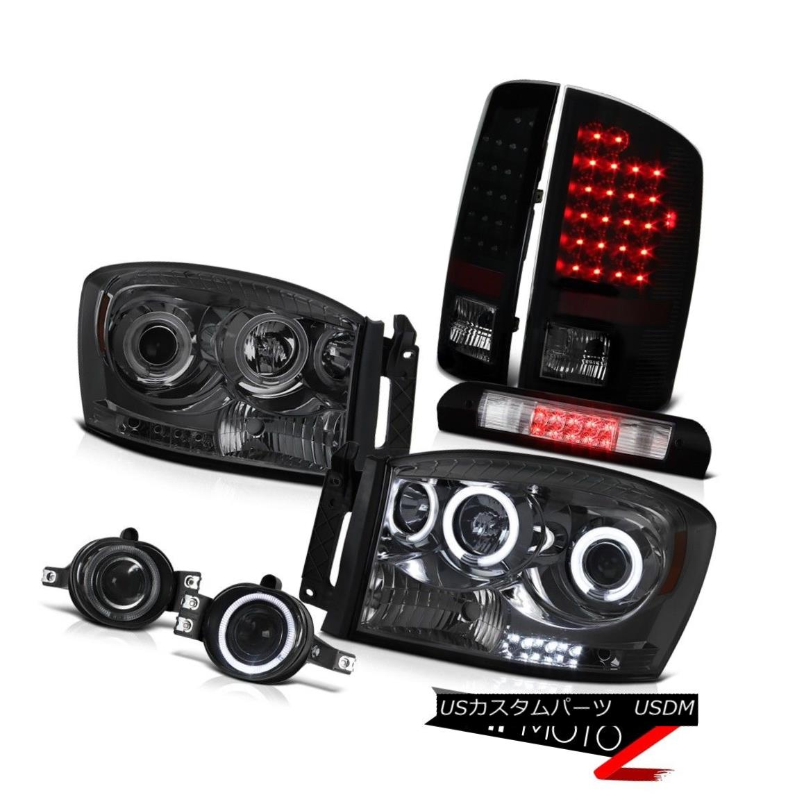ヘッドライト 2007-2008 Dodge Ram C.C.F.L Smoke Headlights Rear Brake Taillights Fog Cargo LED 2007-2008 Dodge Ram C.C.F.Lスモークヘッドライトリアブレーキ曇り霧カーゴLED