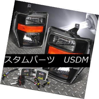 ヘッドライト FOR 08-10 SUPER DUTY F-250/350/450 BLACK HEADLIGHT+H13 BULBS 6000K HID+BALLAST 08-10スーパーデューティF-250/350/450 BLACK HEADLIGHT + H13 BULBS 6000K HID +バラスト