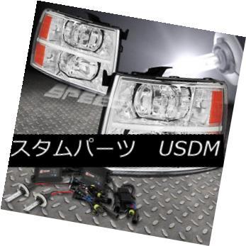 ヘッドライト FOR 07-13 SILVERADO CHROME HEADLIGHT AMBER CORNER LAMPS+6000K HID+SLIM BALLAST FOR 07-13シルバードクロムヘッドライトアンバーコーナーランプ+ 6000K HID +スリムバラスト