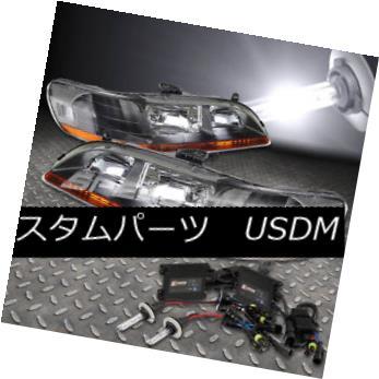 ヘッドライト FITS 98-02 ACCORD BLACK HEADLIGHTS AMBER LAMPS+9006 6000K HID KIT+SLIM BALLAST FITS 98-02ブラックヘッドライトアンバーランプ+ 9006 6000K HID KIT +スリムバラスト