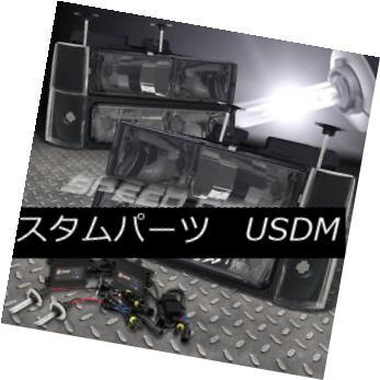 ヘッドライト FOR 88-93 GMC C/K 1500/2500 SMOKED HEAD LIGHTS+BUMPER+CORNER+9006 6000K SLIM HID 88-93 GMC C / K 1500/2500スマートヘッドライト+バンパー+ コーナー+ 9006 6000KスリムHID