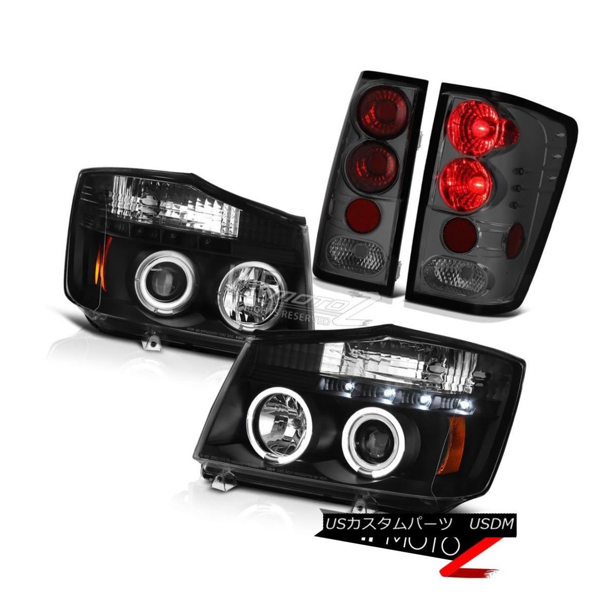 ヘッドライト For 2004-2015 Titan SE Black L.E.D Angel Eye Headlights Signal Tail Lights Smoke 2004年?2015年Titan SE Black L.E.Dエンジェルアイヘッドライトシグナルテールライトスモーク