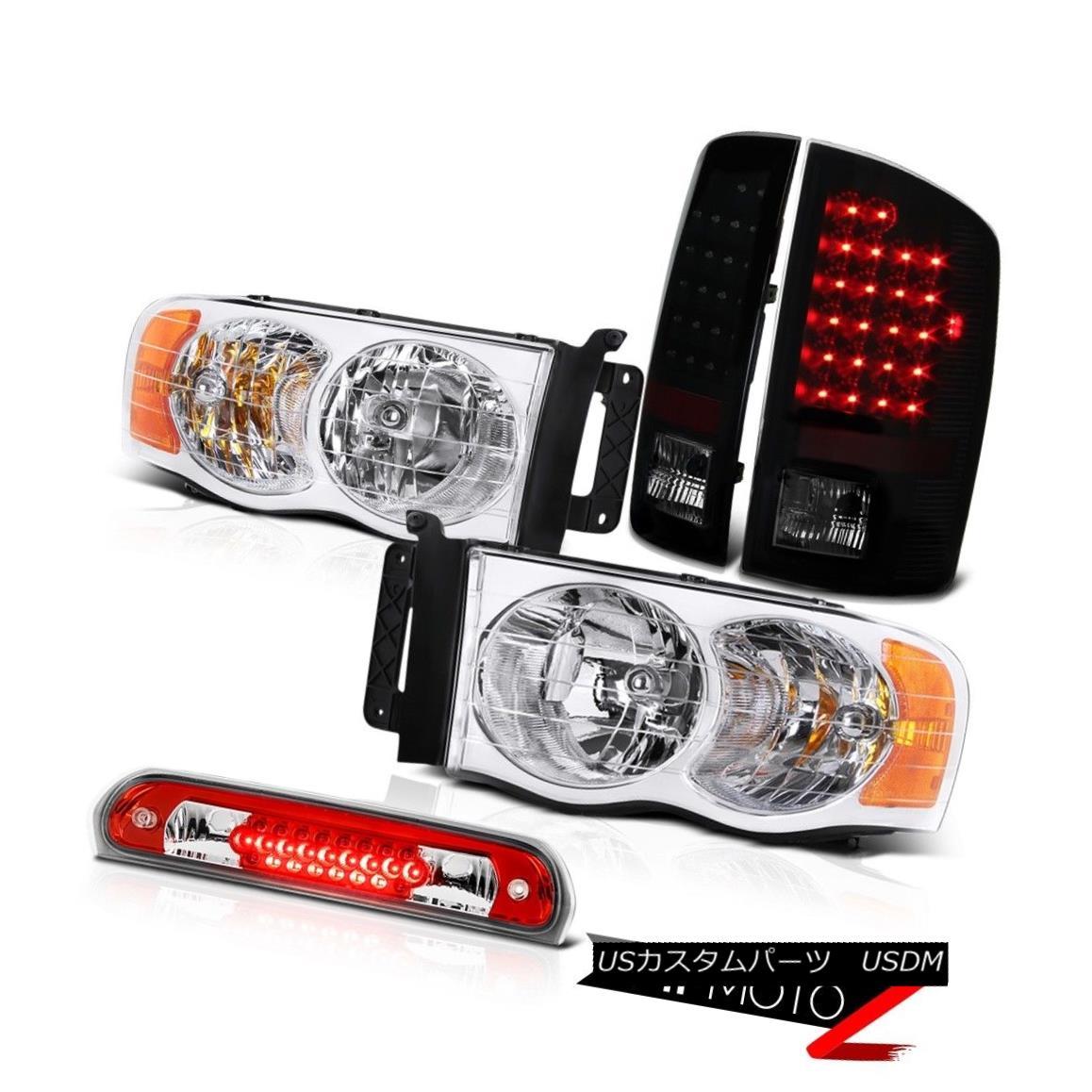 ヘッドライト Chrome Headlamps Smoke LED Tail Lights Lamps Roof Brake Red 02-05 Dodge Ram クロームヘッドランプ煙LEDテールライトランプ屋根ブレーキレッド02-05 Dodge Ram
