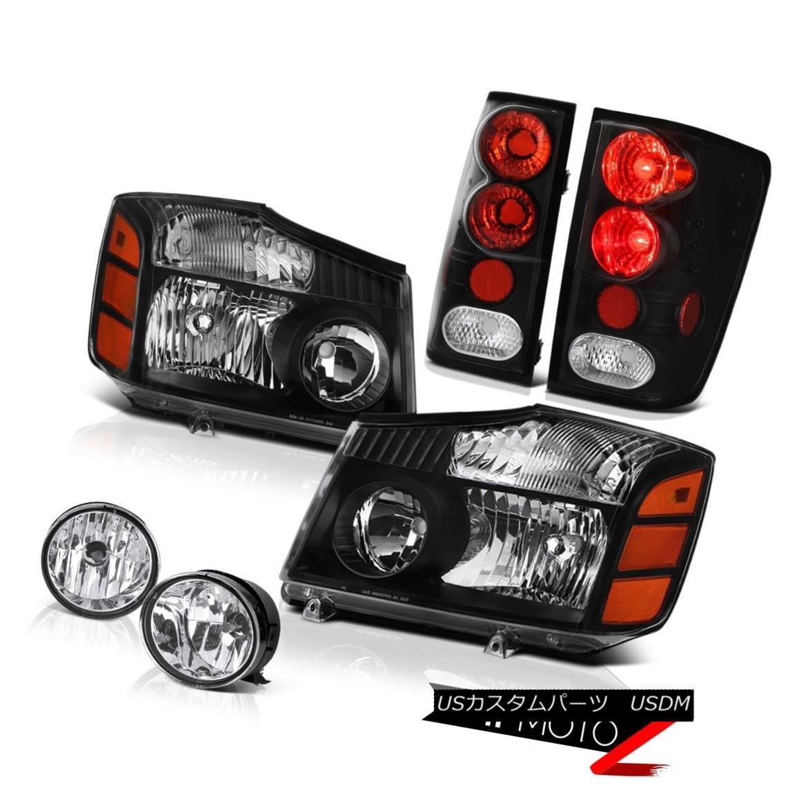 ヘッドライト For 2004-2015 09 10 Titan 4X4 Pair Black Headlight Tail Brake Lights Chrome Fog 2004?2015年09 10 Titan 4X4ペアブラックヘッドライトテールブレーキライトクロムフォグ