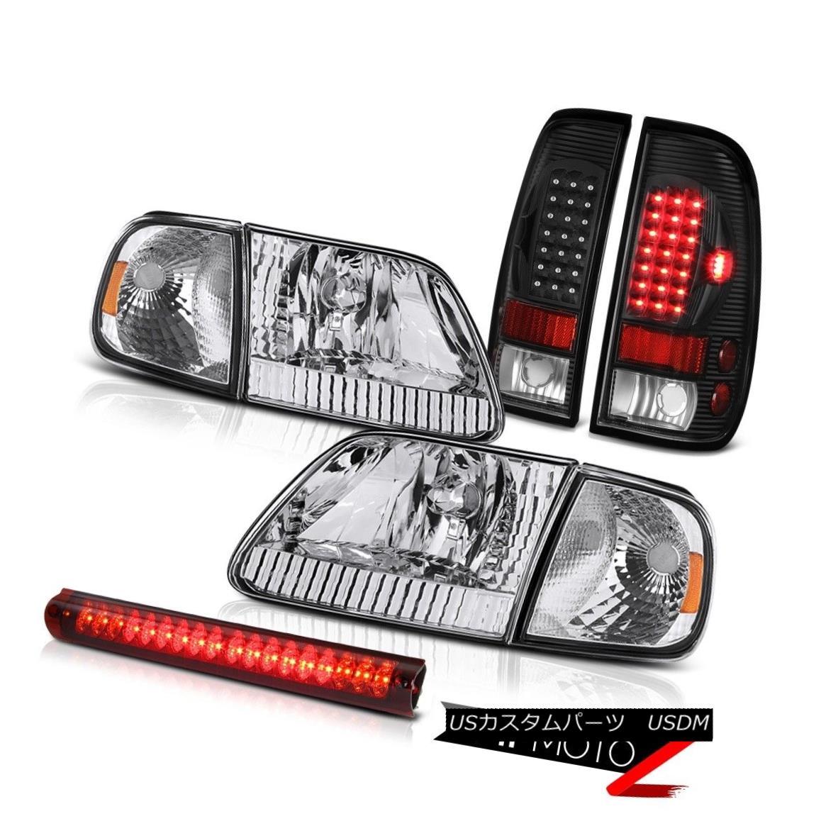 ヘッドライト Crystal Clear Headlamp Signal Black Brake Tail Lights Roof LED Red 97-03 F150 XL クリスタルクリアヘッドランプ信号ブラックブレーキテールライトルーフLEDレッド97-03 F150 XL