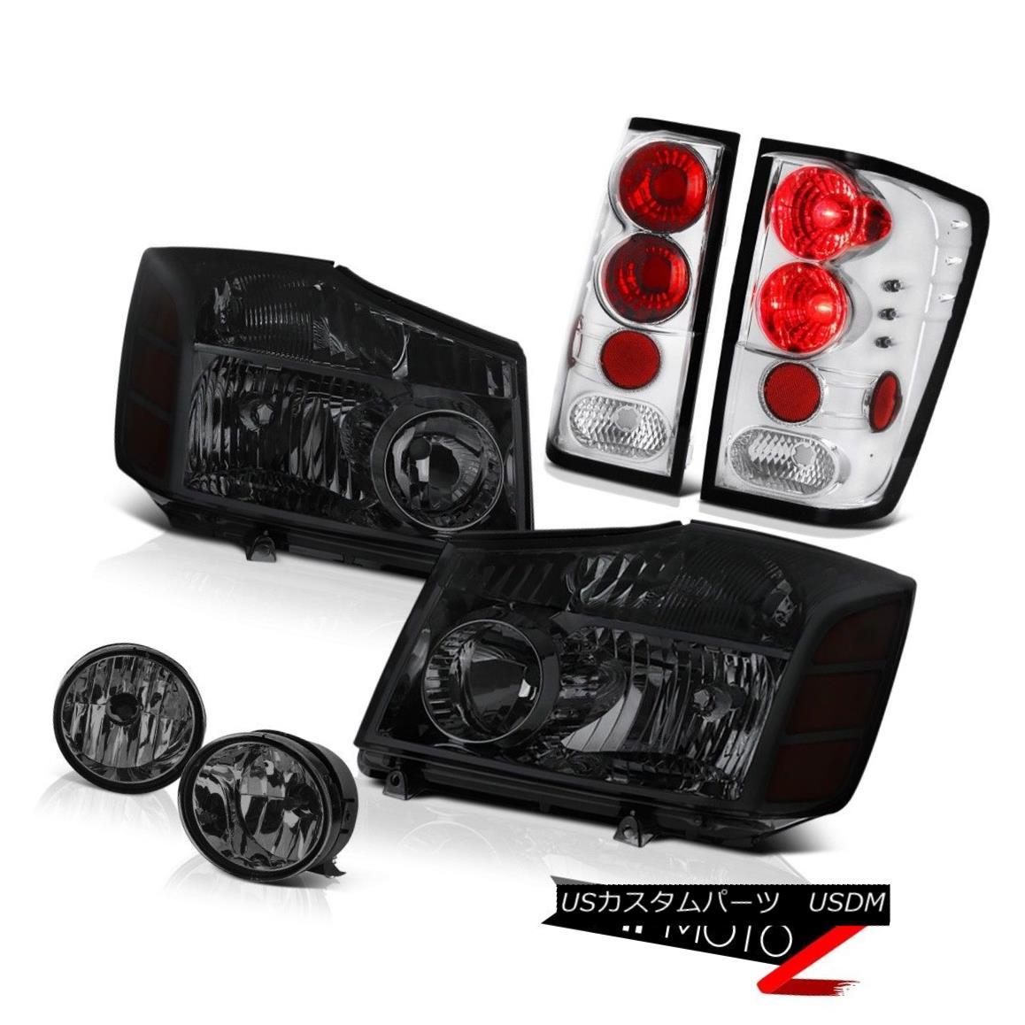 ヘッドライト For 2004-2015 Titan S PAIR Smoke Headlight Clear Tail Brake Lamp Dark Bumper Fog 2004年?2015年Titan S PAIRスモークヘッドライトクリアテールブレーキランプダークバンパーフォグ