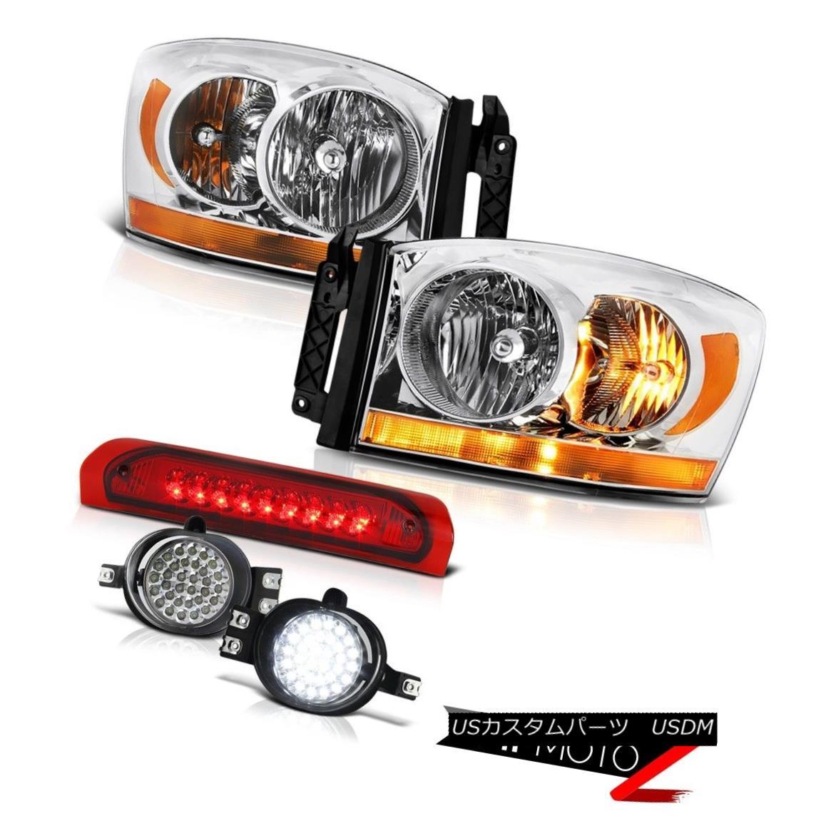 ヘッドライト 2006 Ram 4.7L Clear Chrome Headlamps Foglamps Red Roof Brake Lamp Oe Style LED 2006ラム4.7LクリアクロームヘッドランプフォグランプレッドルーフブレーキランプOeスタイルLED
