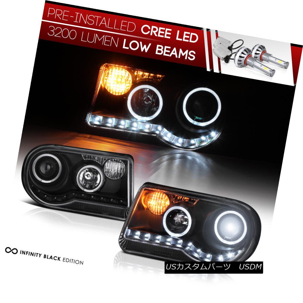 ヘッドライト [BUILT-IN LED LOW BEAM] 05-2010 Chrysler 300C 300 C LED STRIP DRL Halo Head Lamp [ビルインインLEDロービーム] 05-2010クライスラー300C 300 C LED STRIP DRLハローヘッドランプ