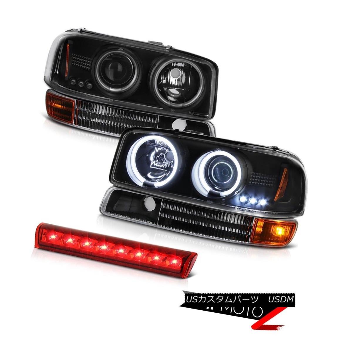 ヘッドライト 00-06 Yukon Angel Eye Projector Headlight Signal Bumper Cargo RED LED Brake Lamp 00-06ユーコンエンジェルアイプロジェクターヘッドライト信号バンパーカーゴRED LEDブレーキランプ