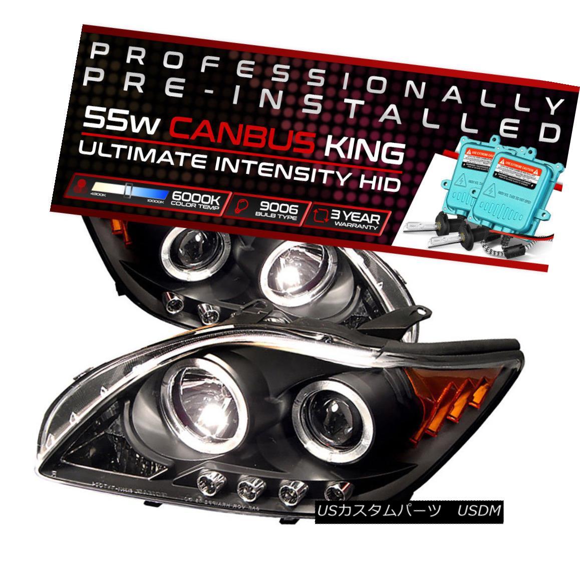 ヘッドライト !55W HID Built-In! 05-07 Scion tC Black Dual Halo Projector Headlight Amber Lamp !55W HID内蔵! 05-07シオンtCブラックデュアルハロープロジェクターヘッドライトアンバーランプ