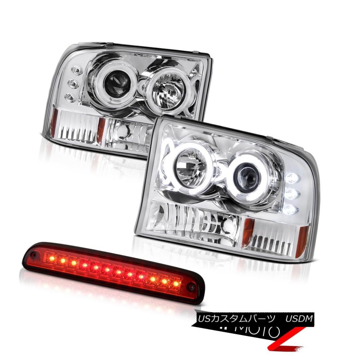 ヘッドライト 99 00 01 02 03 04 F250 XLT CCFL Chrome Halo Headlights Wine Red Third Brake LED 99 00 01 02 03 04 F250 XLT CCFLクロームハローヘッドライトワインレッド第3ブレーキLED