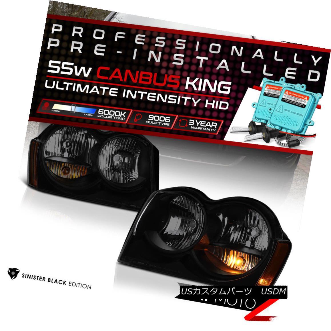 ヘッドライト !55W HID Built-In! 05-07 Jeep Grand Cherokee Black Smoked Replacement Headlight !55W HID内蔵! 05-07ジープグランドチェロキーブラックスモーク交換ヘッドライト