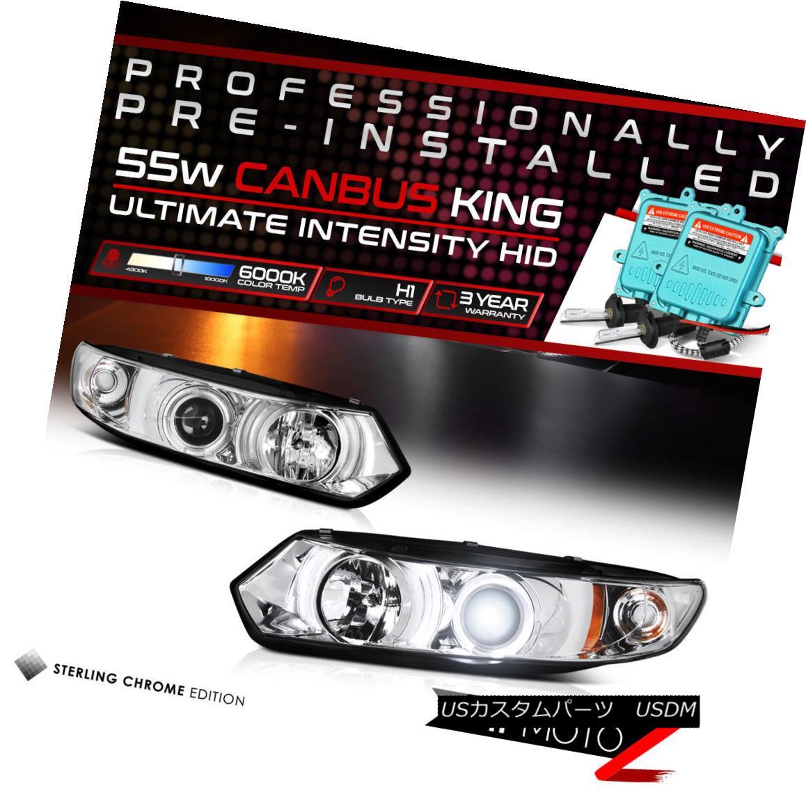 ヘッドライト !55W HID Built-In!06-11 Civic 2DR Chrome Dual LED Halo Projector Headlight Lamp !55W HID内蔵!06-11シビック2DRクロームデュアルLEDハロープロジェクターヘッドライトランプ