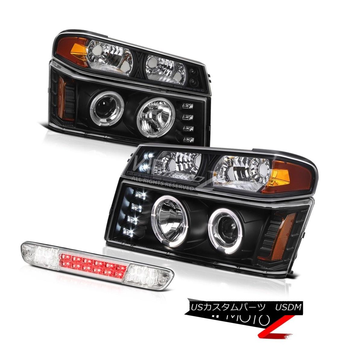 ヘッドライト 2004-2012 Gmc Canyon Matte Black Headlights Parking Lamp Euro Clear Third Brake 2004-2012 Gmcキャニオンマットブラックヘッドライトパーキングランプユーロクリア第3ブレーキ