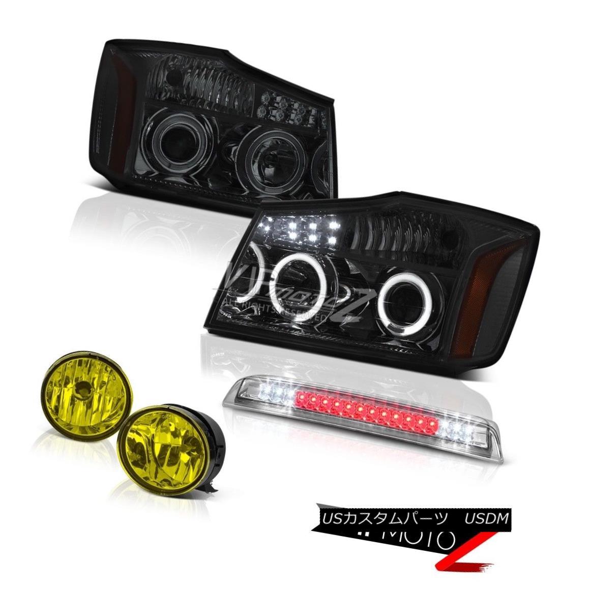 ヘッドライト Pair Smoke Headlights Driving Bumper Fog Chrome 3rd Brake LED For 2004-15 Titan ペアの煙のヘッドライトドライビングバンパーフォグクローム第3ブレーキLED 2004年?15年タイタン