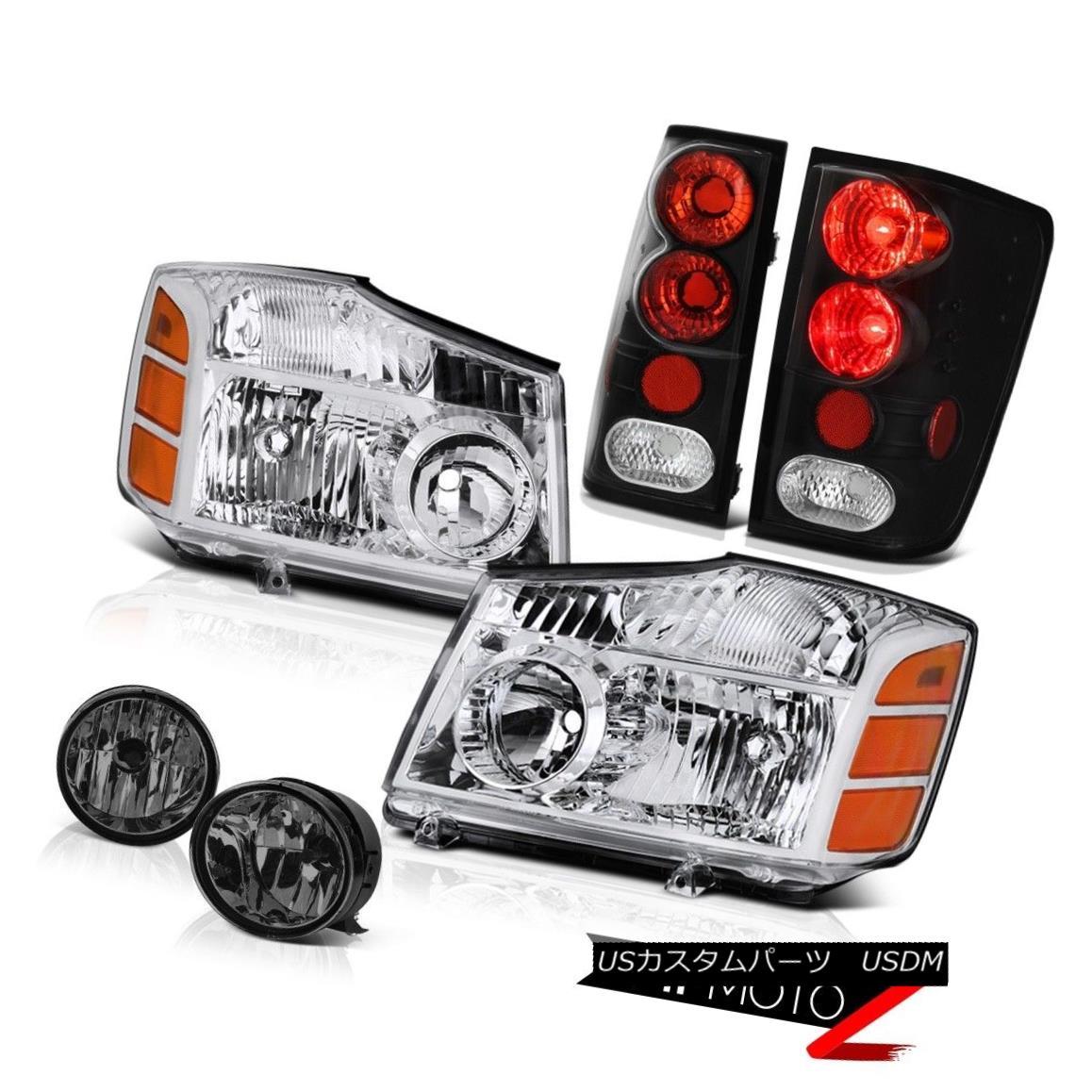 ヘッドライト NEW For 04-15 Titan LE Pair Clear Headlights Rear Brake Black Taillight Tint Fog NEW for 04-15タイタン・リー・ペア・クリア・ヘッドライトリア・ブレーキブラック・テイルライト・ティントフォグ