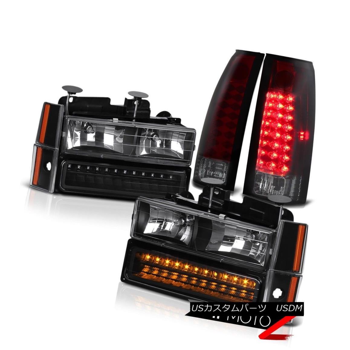 ヘッドライト WINE RED LED Tail Lights Black 4PC Corner+2PC Bumper+2PC Headlights w/ Bulbs NEW ワインレッドLEDテールライトブラック4PCコーナー+ 2PCバンパー+電球付き2PCヘッドライトNEW