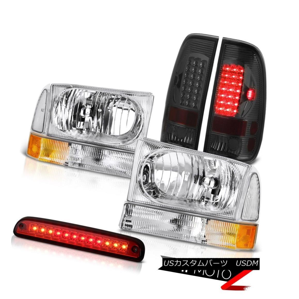 ヘッドライト Chrome Headlamps High Stop LED Wine Red Smoke Third Brake Lamps 99-04 F250 XL クロームヘッドランプハイストップLEDワインレッド煙第三ブレーキランプ99-04 F250 XL