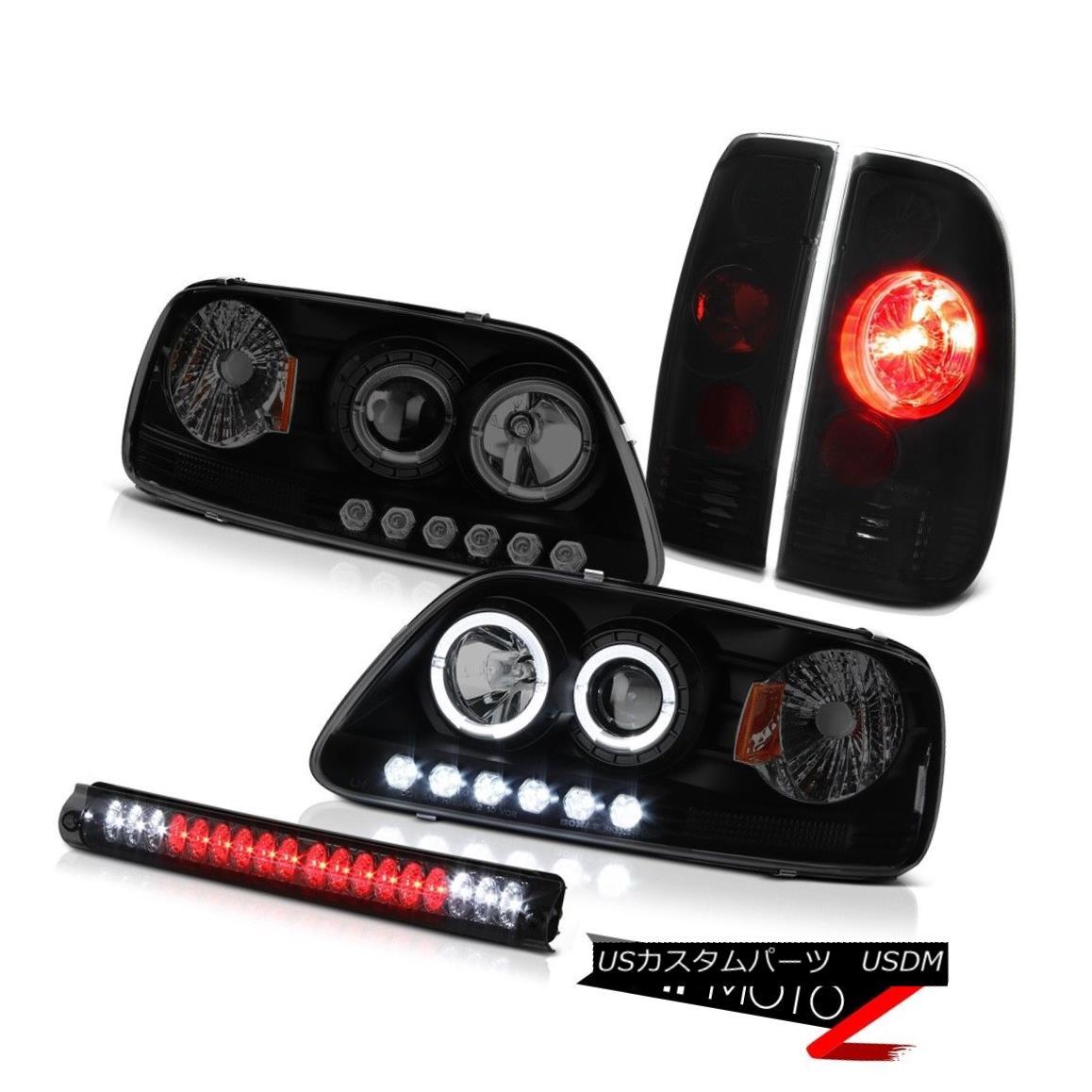 ヘッドライト 97 98 F150 XLT Halo LED Headlight Sinister Black Tail Light Brake Cargo Lamp Set 97 98 F150 XLTハローLEDヘッドライトシニスターブラックテールライトブレーキカーゴランプセット