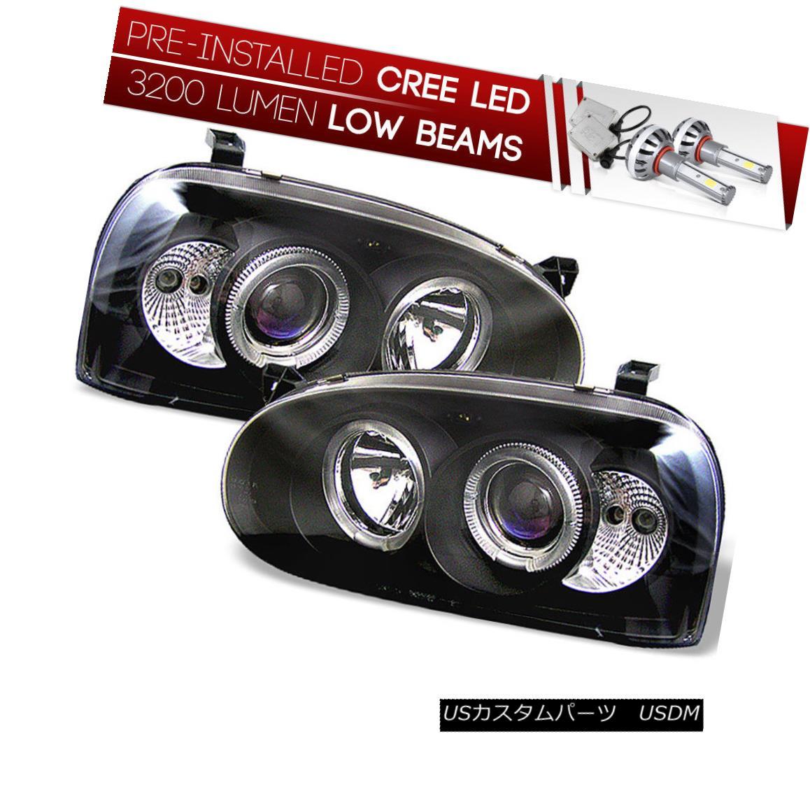 ヘッドライト [CREE LED Bulb Installed]93-98 Golf MK3 Black Dual Halo Projector Headlight Lamp [CREE LED Bulb Installed] 93-9  8ゴルフMK3ブラックデュアルハロープロジェクターヘッドライトランプ