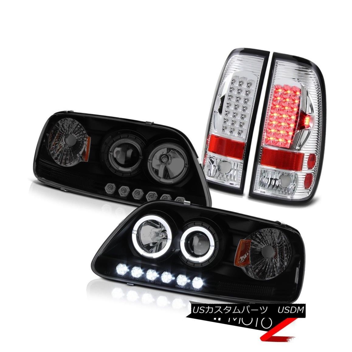ヘッドライト F150 Lariat 1997 1998 Twin Halo Rim Headlight Smoke Chrome Rear Tail Lamp Lights F150ラリアット1997年1998年ツインハローリムヘッドライトスモーククロームリアテールランプライト