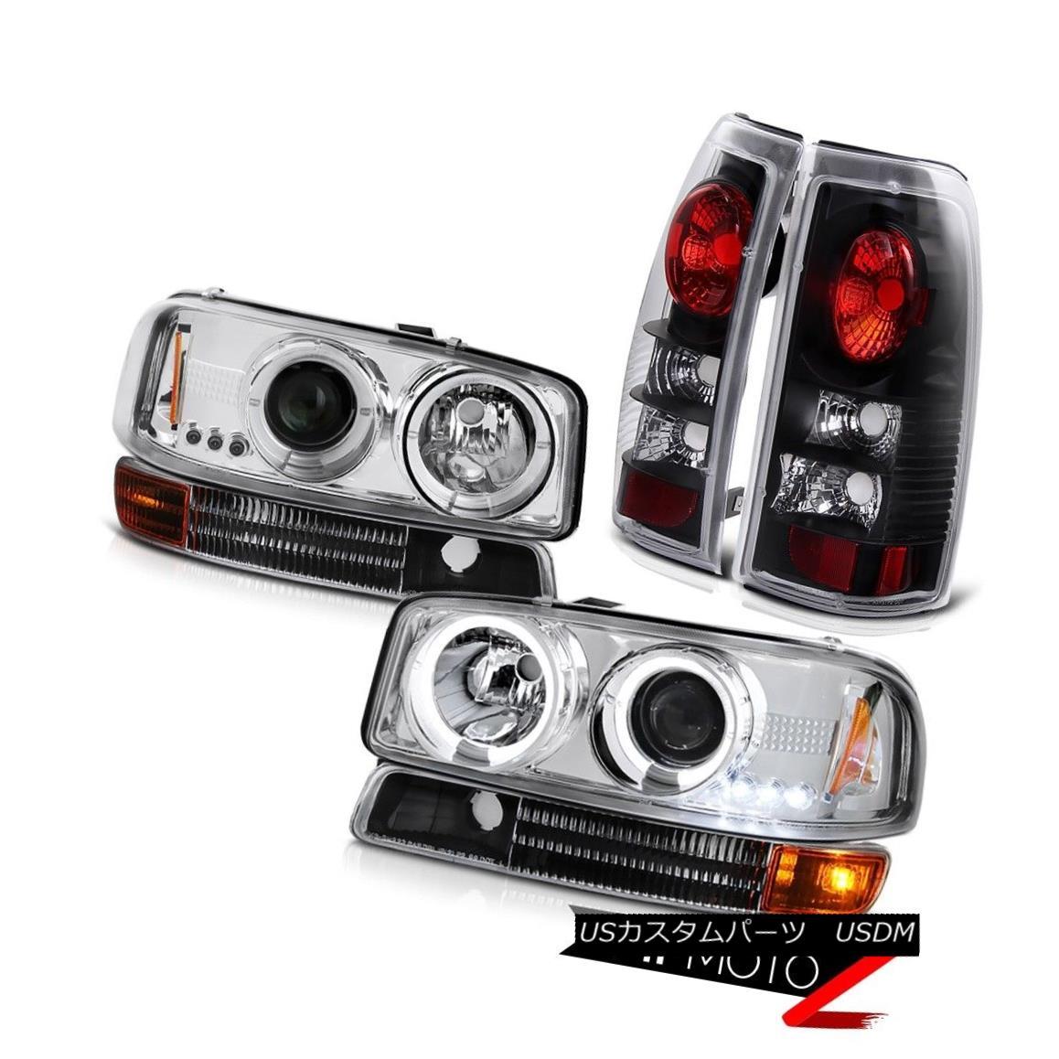 ヘッドライト 1999-2003 Sierra 4.3L V6 Chrome Halo Headlights Black Parking Rear Brake Lights 1999-2003シエラ4.3L V6クロームハローヘッドライトブラックパーキングリアブレーキライト