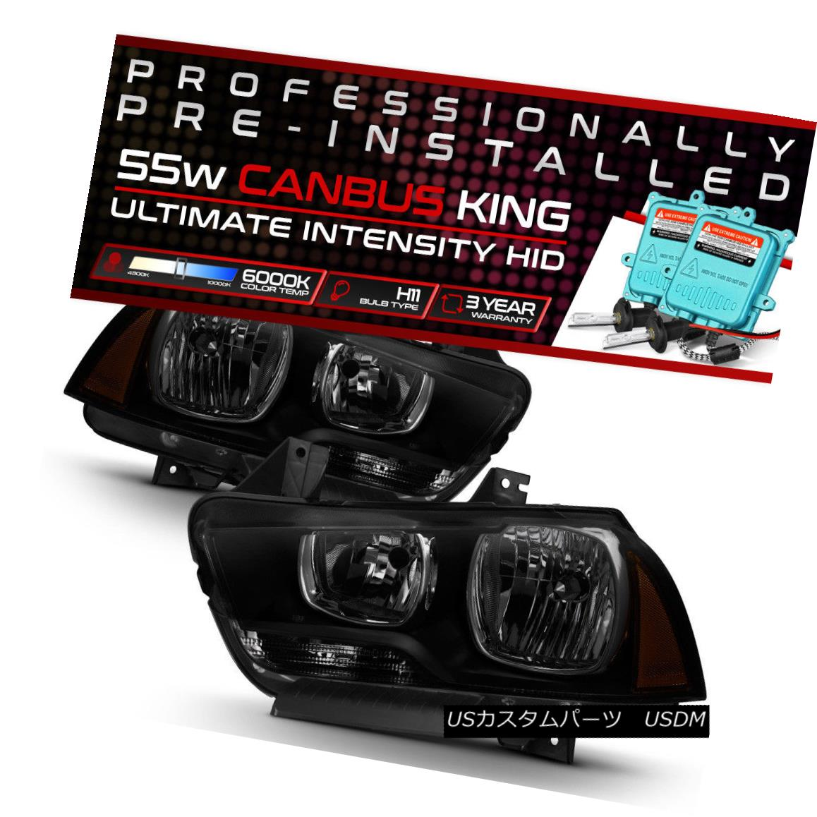 ヘッドライト !55W HID Built-In! 11-14 Dodge Charger Black Smoked Replacement Headlight Lamp !55W HID内蔵! 11-14ダッジチャージャー黒色スモーク交換ヘッドライトランプ