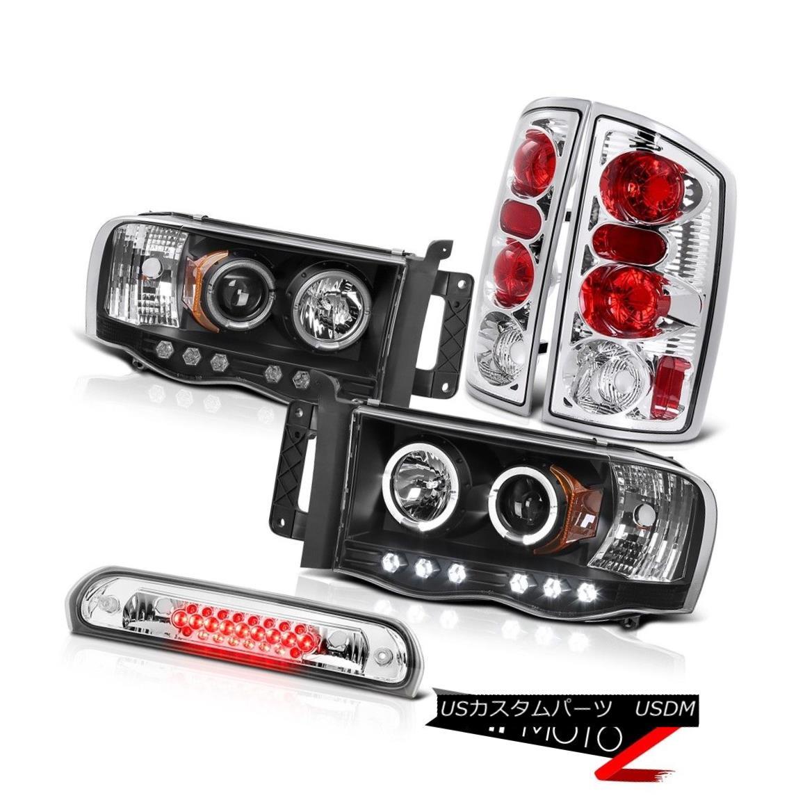 ヘッドライト Black Halo LED Headlights Chrome Rear Brake Tail Lights High 2002-2005 Ram 2500 ブラックハローLEDヘッドライトクロームリアブレーキテールライトハイ2002-2005 Ram 2500