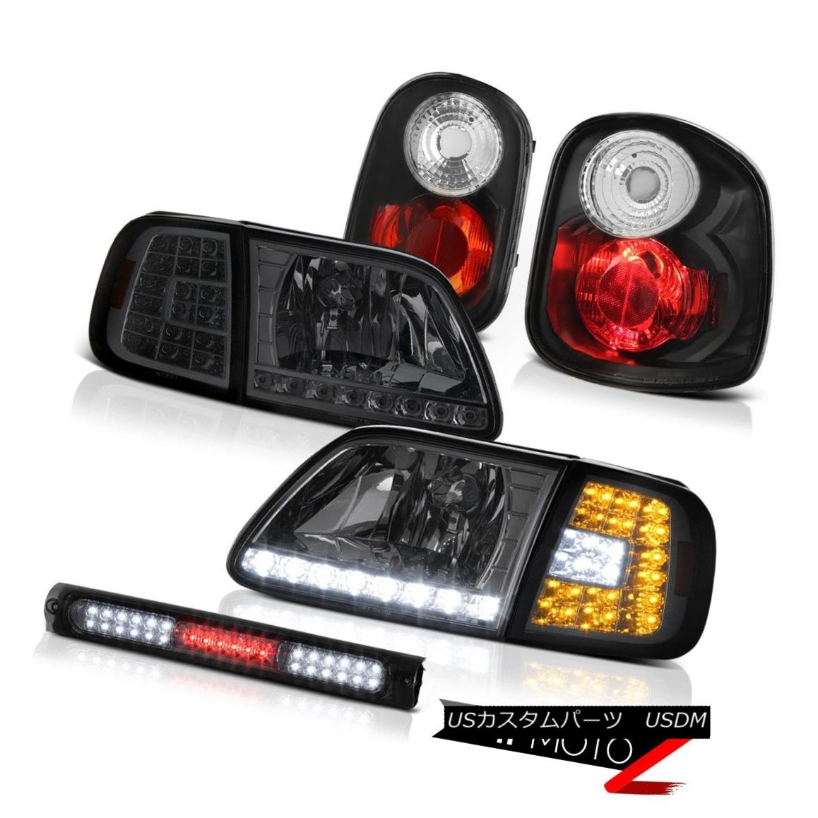 ヘッドライト LED Smoke Bumper+Headlamps Rear Brake Lights Third 2001-2003 F150 Flareside 4.2L LEDスモークバンパー+ヘッドラム psリアブレーキライトサード2001-2003 F150フラレイド4.2L