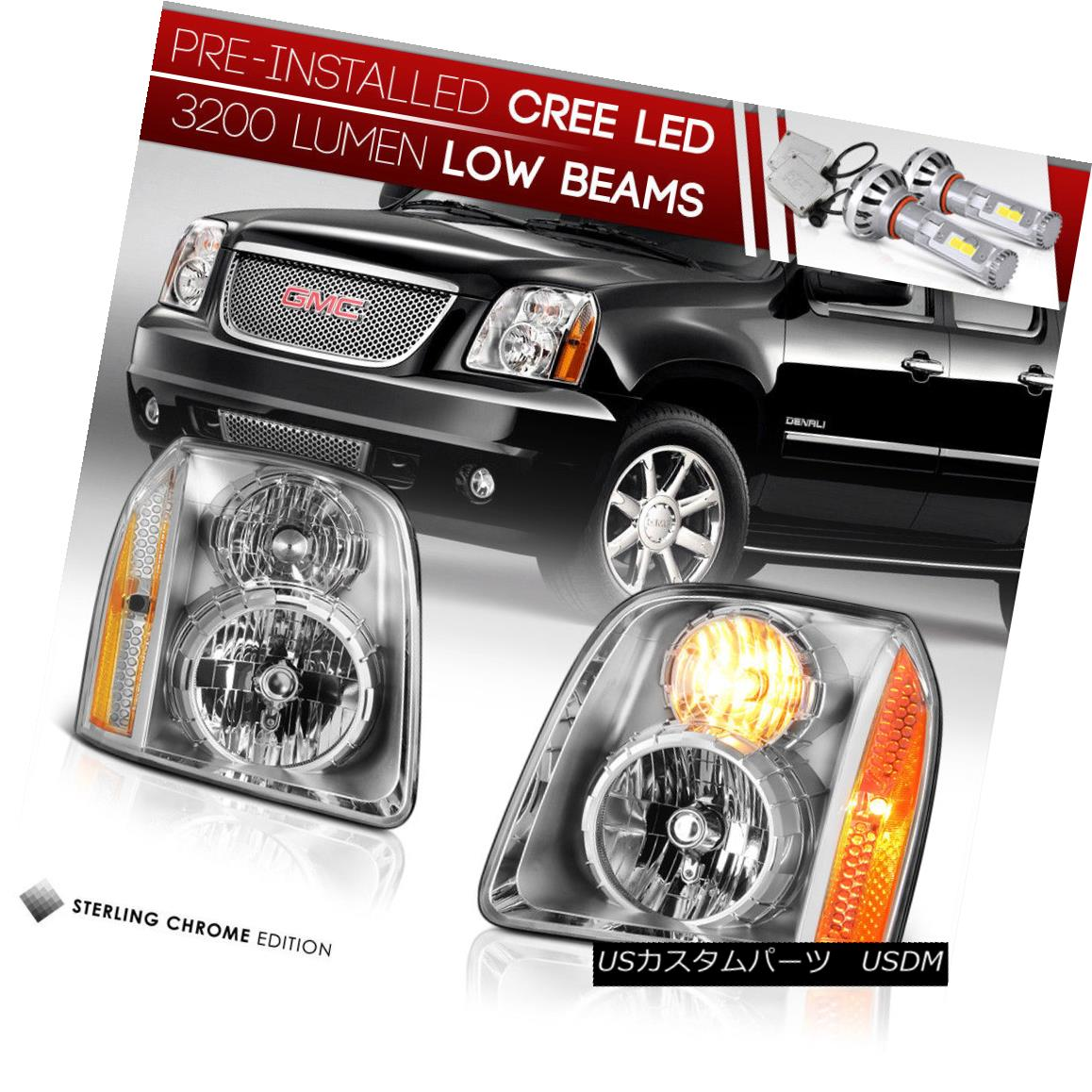 ヘッドライト !Built-In LED Low Beam! 2007-2014 GMC Yukon Headlights Replacement Lamp Pair XL !内蔵LED低ビーム! 2007-2014 GMC Yukonヘッドライト交換用ランプペアXL