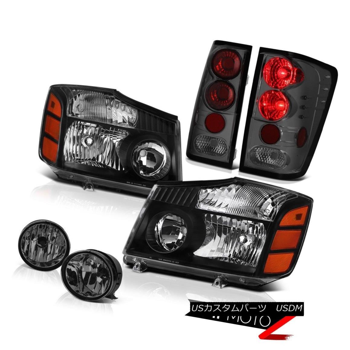 ヘッドライト For 2004-2015 Titan 4X4 Black Headlight Headlamp Smoked Tail Light Bumper Fog 2004年?2015年タイタン4X4ブラックヘッドライトヘッドランプスモークテールライトバンパーフォグ