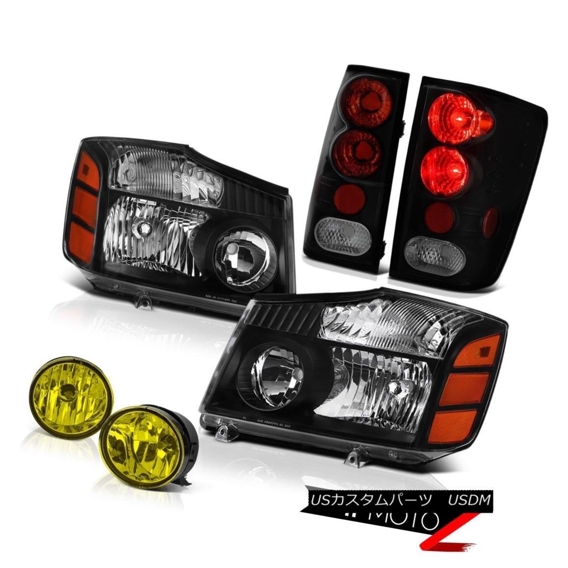 ヘッドライト For 2004-2015 Titan SE Black Diamond Headlights Dark Tail Lights Yellow Foglight 2004年から2015年までタイタンSEブラックダイヤモンドヘッドライトダークテールライトイエローフォグライト