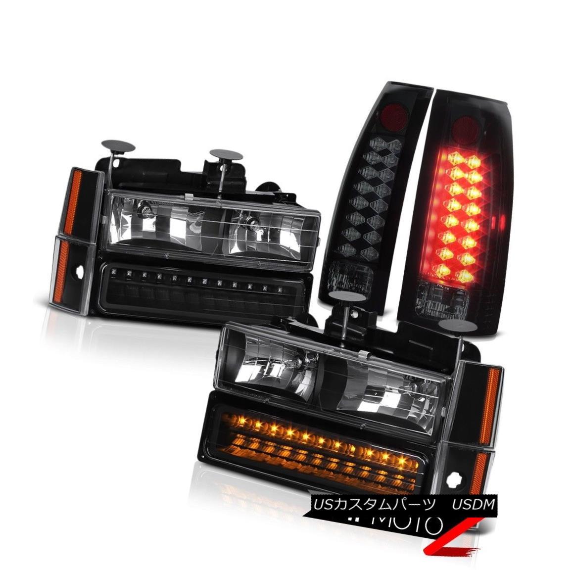 ヘッドライト [DARKEST SMOKE] LED Rear Tail Light Brake Lamp Set+8PC Black LED Headlight LH+RH [DARKEST SMOKE] LEDリアテールライトブレーキランプセット+ 8PCブラックLEDヘッドライトLH + RH