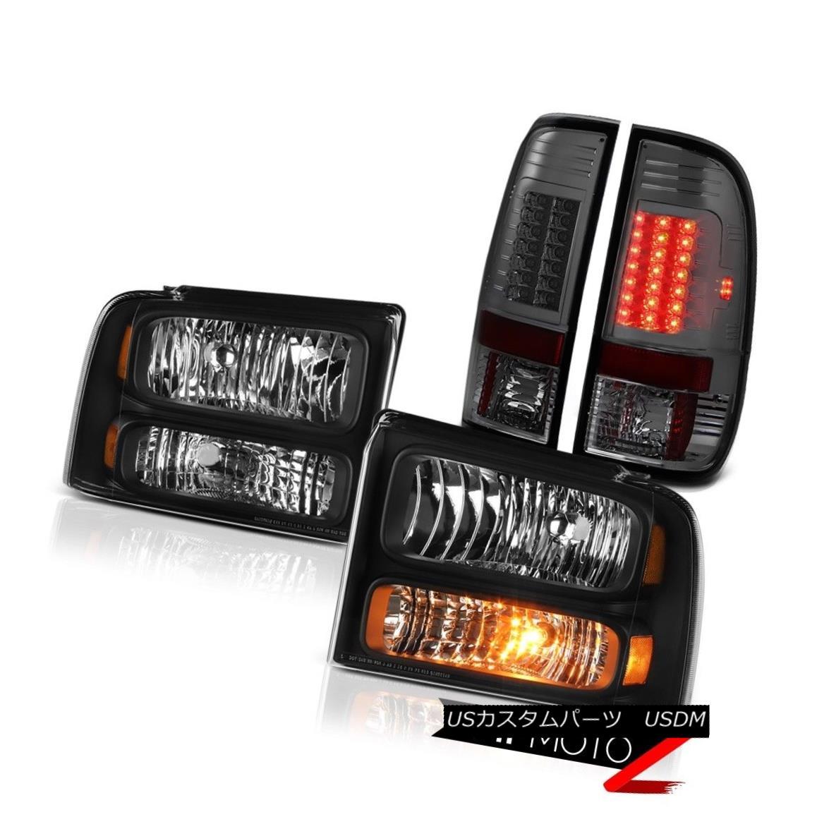 ヘッドライト Black Replacement Headlamps Smoke LED Taillight 2005 2006 2007 Ford F350 Outlaw ブラック交換ヘッドランプ煙LEDテールライト2005 2006 2007 Ford F350 Outlaw