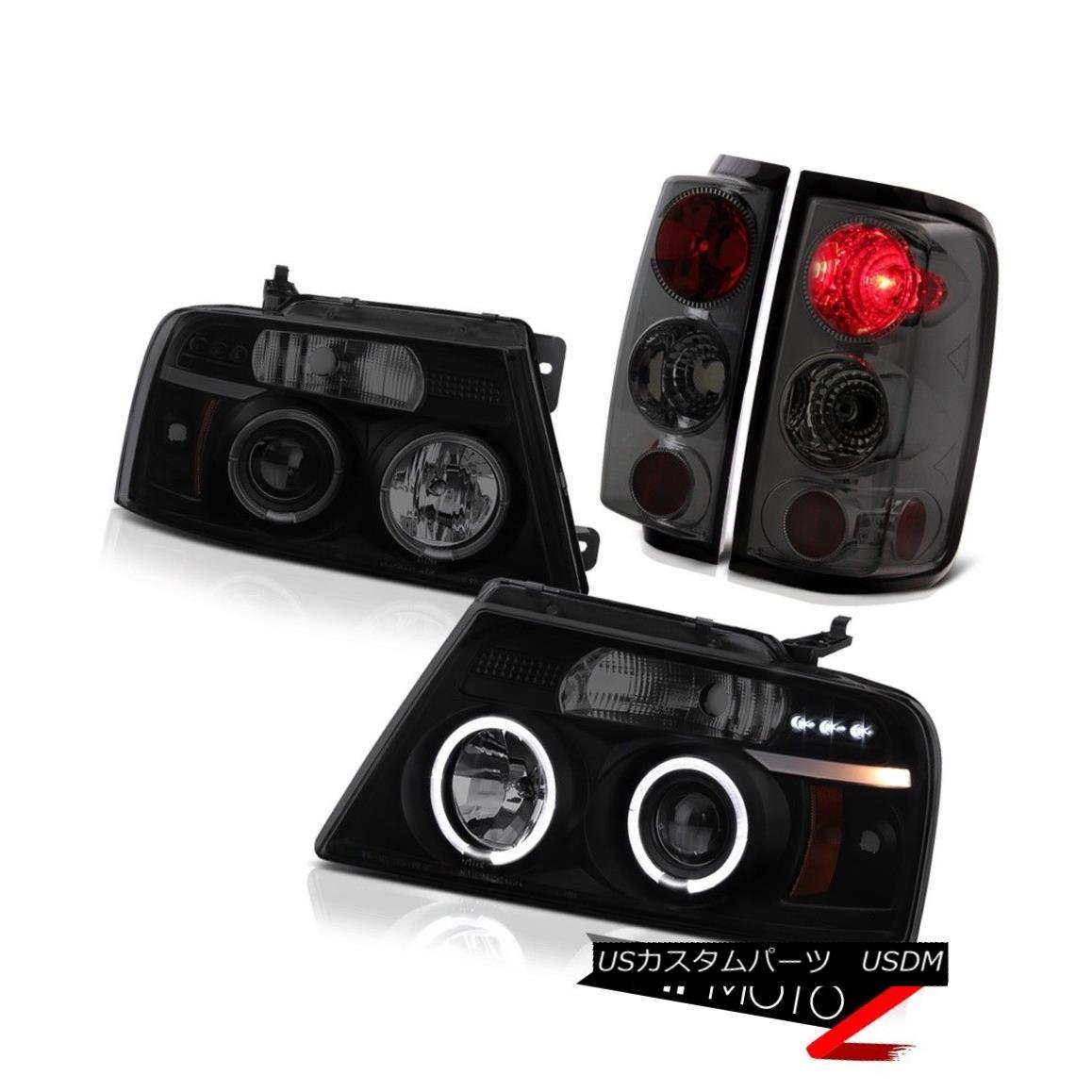 ヘッドライト 2004-2008 Ford F150 Lobo Darkest Smoke Halo LED Headlights Tail Light Brake Lamp 2004-2008フォードF150ロボダークスモークスモークハローLEDヘッドライトテールライトブレーキランプ