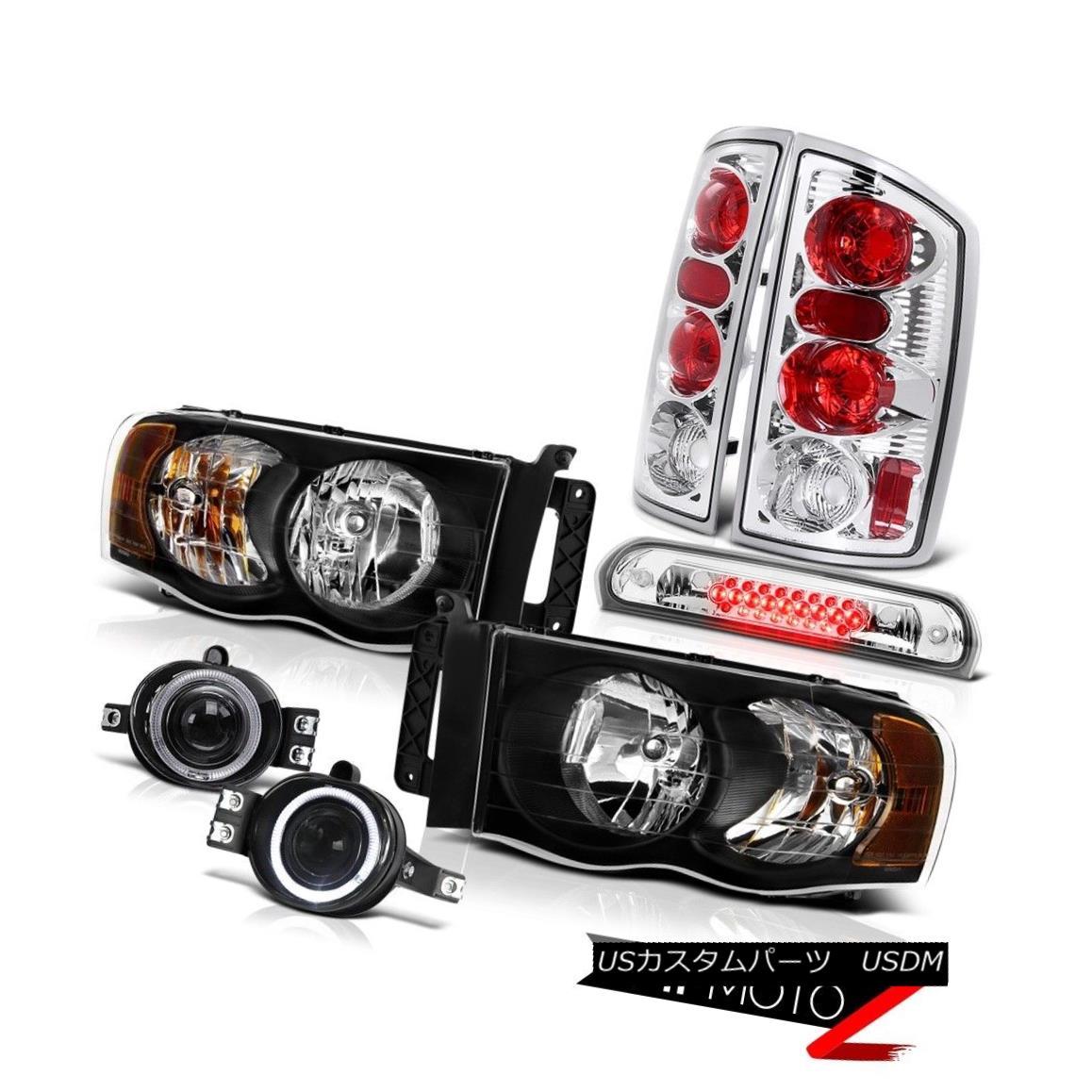 ヘッドライト 2002-2005 Ram ST Inky Black Headlights Euro Rear Tail Lamps Bumper Fog Roof LED 2002-2005 Ram ST InkyブラックヘッドライトユーロリアテールランプバンパーフォグルーフLED