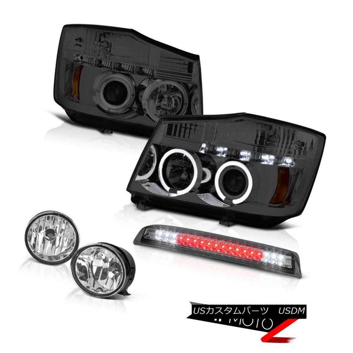 ヘッドライト For 04-15 Titan SL Tinted Headlight Halo DRL L.E.D Foglamp Smoke Cargo 3rd Brake 04-15タイタンSLの着色ヘッドライトHalo DRL L.E.D Foglamp Smoke Cargo 3rd Brake