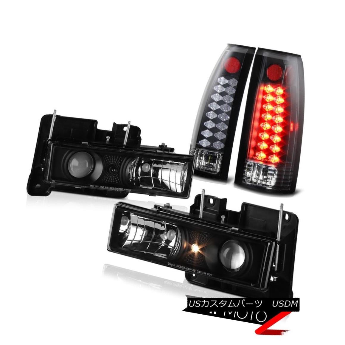 ヘッドライト 1988-1998 Chevy GMC C/K Suburban 1500 2500 Black Headlights+LED Rear Taillamps 1988-1998シボレーGMC C / K郊外1500 2500ブラックヘッドライト+ LEDリアタイヤ
